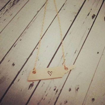 Gold / Bronze  Hand Stamped Necklace - Tennessee Necklace - Stamped with Heart where you want it - Bronze Jewelry