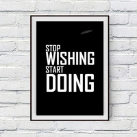 Fitness motivation poster, Stop wishing, start doing, Motivational Quote Art Print, Printable Weight Loss Diet Motivation, Instant Download