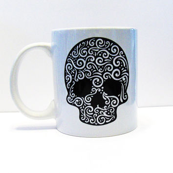 Sugar Skull White Coffee Mug - Day Of The Dead - Fun Mug - Kitchen and Dining - Home and Living - Drink and Barware - Mug - Cup - Coffee Mug