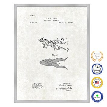 1897 Fishing Artificial Fish Bait Antique Patent Artwork Silver Framed Canvas Print Home Office Decor Great for Fisherman Cabin Lake House