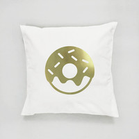 Gold Donut Pillow, Donut Pillow, Home Decor, Cushion Cover, Throw Pillow, Bedroom Decor, Modern Pillow, Bed Pillow, Gold Pillow, Cake Pillow