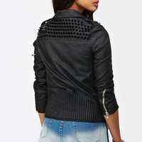 Spiked Moto Jacket - Black in  Clothes at Nasty Gal