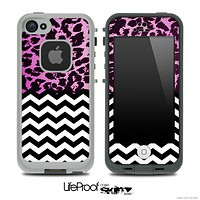 Mixed Neon Pink Cheetah and Chevron Pattern Skin for the iPhone 5 or 4/4s LifeProof Case