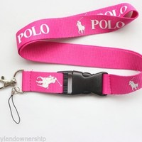 Polo RL Keychain Holder Lanyard Sports Bright Pink w White Pony Logo FEW LEFT