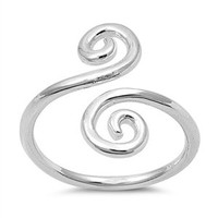 Sterling Silver Wrap Around Swirl Mid Finger / Mid Knuckle Ring - 13mm