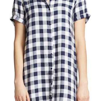 BB Dakota Rayon Gingham Shirt Dress