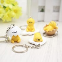 4pcs/set Gudetama Egg keyring pendant keychain Toys Yellow White Lazy PVC Action Figure toys