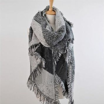 Thicken Womens Girls Big Plaid Scarves Bevel Angle Warm Long Blanket Pashmina Capes Wraps Winter [8833464844]
