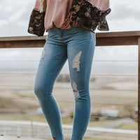 Orion Distressed Skinny Jeans - Light Blue