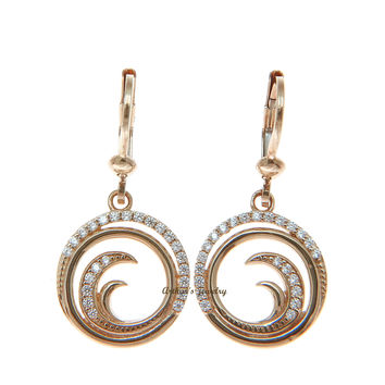 SOLID 14K ROSE GOLD HAWAIIAN OCEAN WAVE CIRCLE BLING CZ LEVERBACK EARRINGS