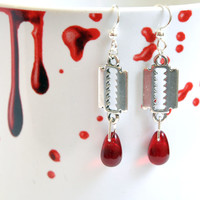 Cutting Edge Earrings, Razor dangle earrings