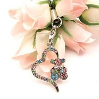 Multi Heart Bear Cell Phone Charm Strap Cubic Stone