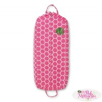 Monogrammed Quilted Pink or Green Bee Line Garment Bag at The Pink Monogram