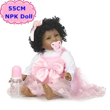 NPK New 55CM Black Skin Boneca Bebe Reborn Dolls Soft Silicone Realistic Curls Hair Baby Doll Toys For Girls Birthday/Xmas Gift