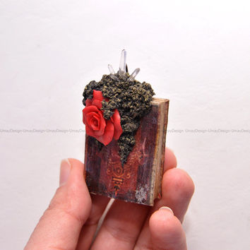 Hand Sulpted Red Rose, Handmade Old Book, Clear Quartz Crystals, Copper Ring, Fantastic Unique Pendant