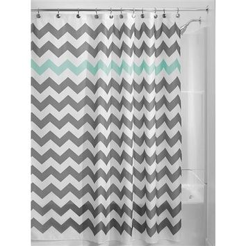 """Asher"" Chevron Pattern 72-inch Shower Curtain in Grey, Turquoise & White"