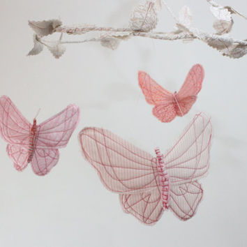 Butterfly Mobile - handmade fabric mobile for nursery decor in white, blush pink, rose and coral