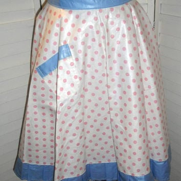 Vintage Apron Polka Dot Full Skirt Apron Pink & White Polka Dot with Blue Trim longer length for a full skirt Polished Cotton