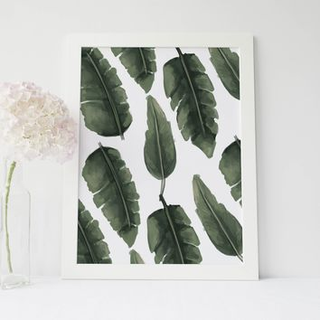 Tropical Palm Tree Leaves Wall Art Print