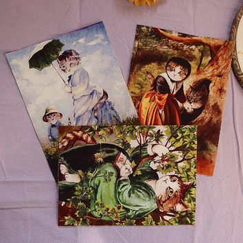 restore ancient cats New Real Telas Patchwork Tissu Oil Painting designs Cotton Fabric Style For Diy Project Patchwork Crafts