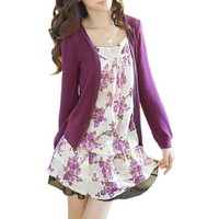 Allegra K Lady Flower Print Front Long Sleeve Fake Two Piece Shirt Purple S