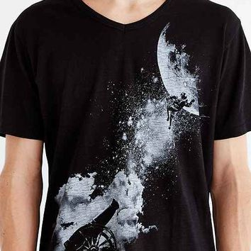 Tee Library To The Moon V-Neck Tee- Black