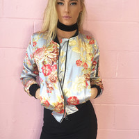 Blue Blush Floral Satin Bomber Jacket