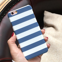 LOVECOM Stripe Case For iphone 6 Case Hard PC White Blue Cover Case for iPhone 6S 6 Plus Protect Phone Cases Coque Capa YC1905