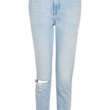 MOTO Bleach Ripped Mom Jeans - Jeans - Clothing