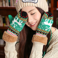 Korean Version Ms. Winter Christmas Deer Mittens   Double Thick Burr Gloves = 1958053316