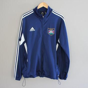 Adidas Jacket 90s Navy Blue Athletic Adidas Zip Track Jacket 3 Stripes Calgary Rangers