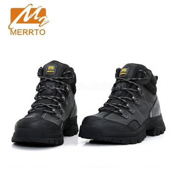 Merrto Hiking Boots Mens Genuine Leather Hiking Shoes Outdoor Trekking Boots Men Sneakers Sports Shoes Winter Boots Men