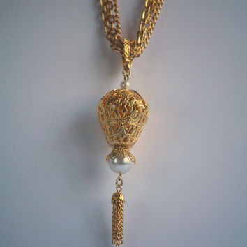 Vintage Celebrity NY Gold Toned Hot Air Balloon Filigree Necklace With Tassels - 1980s -  Costume Jewelry - Free Shipping