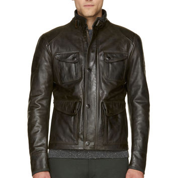 Matchless Washed Black Bison Leather Silverstone Jacket