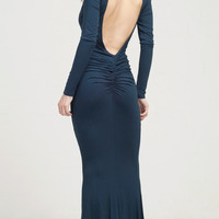Tear Drop Open Back Long Sleeve Maxi Dress - Teal