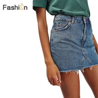 2018 Denim Mini Skirt Woman Summer High Waist Skirts for Women Pockets Button Lady for Girls All-matched Jeans Skirt Plus Size