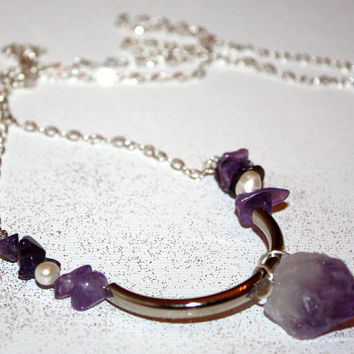 methystos - raw amethyst necklace by lilla stjarna  - ft. freshwater pearl, silver - raw crystal necklace, Rough Gemstone Crystal Jewelry