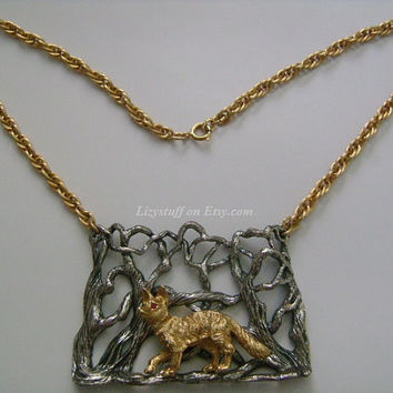 NAPIER Two-Tone Gold& Silver Pewter Interlocking Rope Link-Chain W/ Dog Wolf in The Jungle Woods Red Rhinestone Eyes Center Pendant Necklace