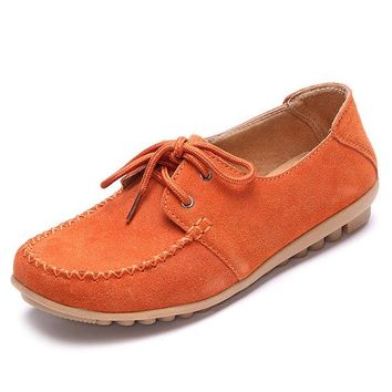 Leather Lace Up Moccasins Driving Loafers Casual Shoes For Women