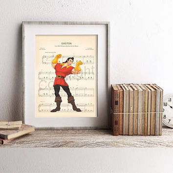 Beauty and the Beast Gaston Sheet Music Art Print