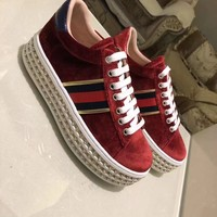 GUCCI Women Trending Fashion Embroidery printing Casual Sneakers Sports Shoes Red