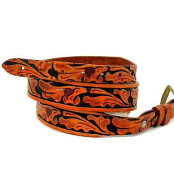 Vintage Tooled Leather Ranger Belt by Looper size 34 Unisex Western Fashion