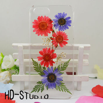 Pressed real flower iphone 6 case, iphone 5/ 5s case real flower iphone 5 /5c / 4 case - red and purple daisy