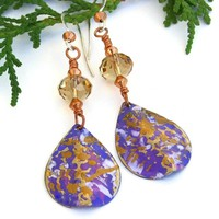 Purple Gold Teardrop Artisan Earrings, Hand Painted Beaded Jewelry, Swarovski Crystals