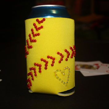 softball bling sparkle can cooler // can cover // can hugger