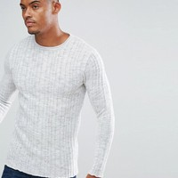 River Island Muscle Fit Jumper In Light Grey at asos.com