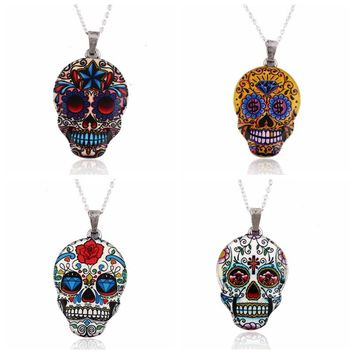 Colorful Skull Pendant Necklace Women Zinc Alloy Skull Head Chain Necklace