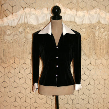 White Satin Black Velvet Tuxedo Blouse Dressy Blouse Formal Blouse New Years Eve Rhinestone Button French Cuffs Medium Large Womens Clothing