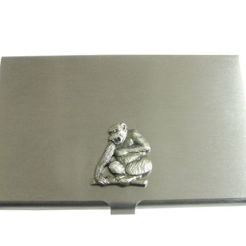 Silver Toned Angry Monkey Pendant Business Card Holder