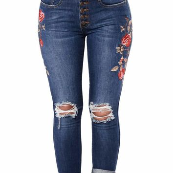 Women's Floral Embroidered Knee Distress Skinny Jeans